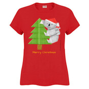 Christmas Origami Koala and cute baby - JK Christmas Ladies Surf Tshirt