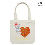 Koala Origami and its Heart gift wrapped for Christmas - Mens Surf Style TShirt - Canvas Tote Carry Bag