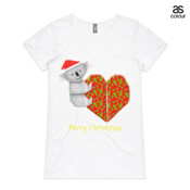 "Koala Origami and its Heart gift wrapped for Christmas - Mens Surf Style TShirt - ASColour Ladies ""Bevel"" V-Neck Tshirt"