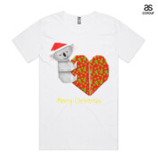 Koala Origami and its Heart gift wrapped for Christmas - Mens Surf Style TShirt - ASColour Scoop Neck Shadow T Shirt