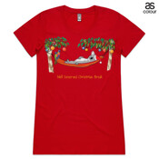 Well Deserved Christmas Break - Koala Relaxing on Hammock  - ASColour Ladies Wafer TShirt