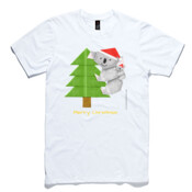 Christmas Origami Koala and cute baby - AS Colour Light Weight Paper Tee