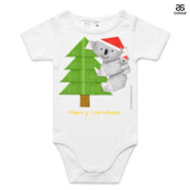 Christmas Origami Koala and cute baby - ASColour Baby Onesie