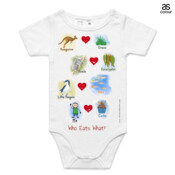 Who eats what? (Boy) - ASColour Baby Onesie