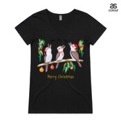 "Kookaburras Australian Christmas Carols - ASColour Ladies ""Bevel"" V-Neck Tshirt"