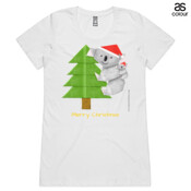 Christmas Origami Koala and cute baby - ASColour Ladies Wafer TShirt