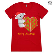 Koala Origami and its Heart gift wrapped for Christmas - Mens Surf Style TShirt - ASColour Ladies Wafer TShirt