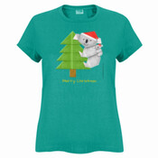 Christmas Origami Koala and cute baby - Sportage Ladies Surf Style T Shirt