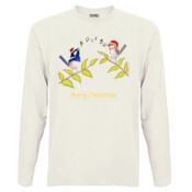 Australian Cute Blue Wren Christmas Carols - Men's 'Sportage Hawkins' Long Sleeve Tee