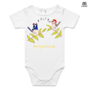 Australian Cute Blue Wren Christmas Carols - ASColour Baby Onesie