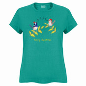 Australian Cute Blue Wren Christmas Carols - Sportage Ladies Surf Style T Shirt