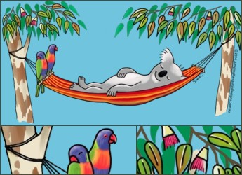 Sleeping Koala on Hammock T-Shirt design